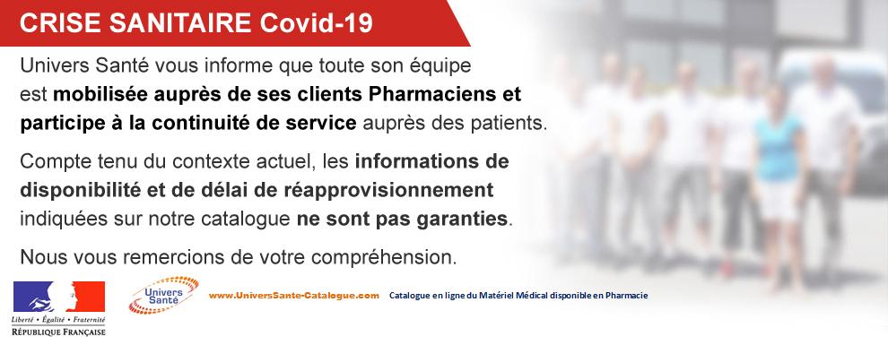 COVID-19 : Univers Santé reste mobilisé auprès clients Pharmaciens et  participe à la continuité de service auprès des patients.